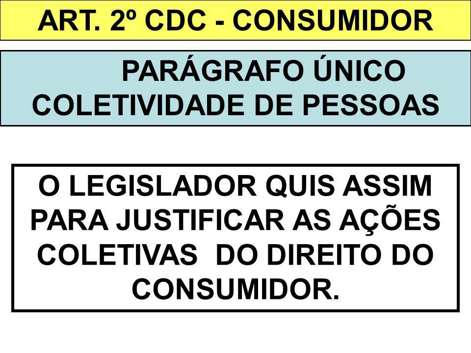 ART. 2º CDC - CONSUMIDOR PARÁGRAFO ÚNICO COLETIVIDADE DE PESSOAS O LEGISLADOR QUIS ASSIM PARA JUSTIFICAR AS AÇÕES COLETIVAS DO DIREITO DO CONSUMIDOR.
