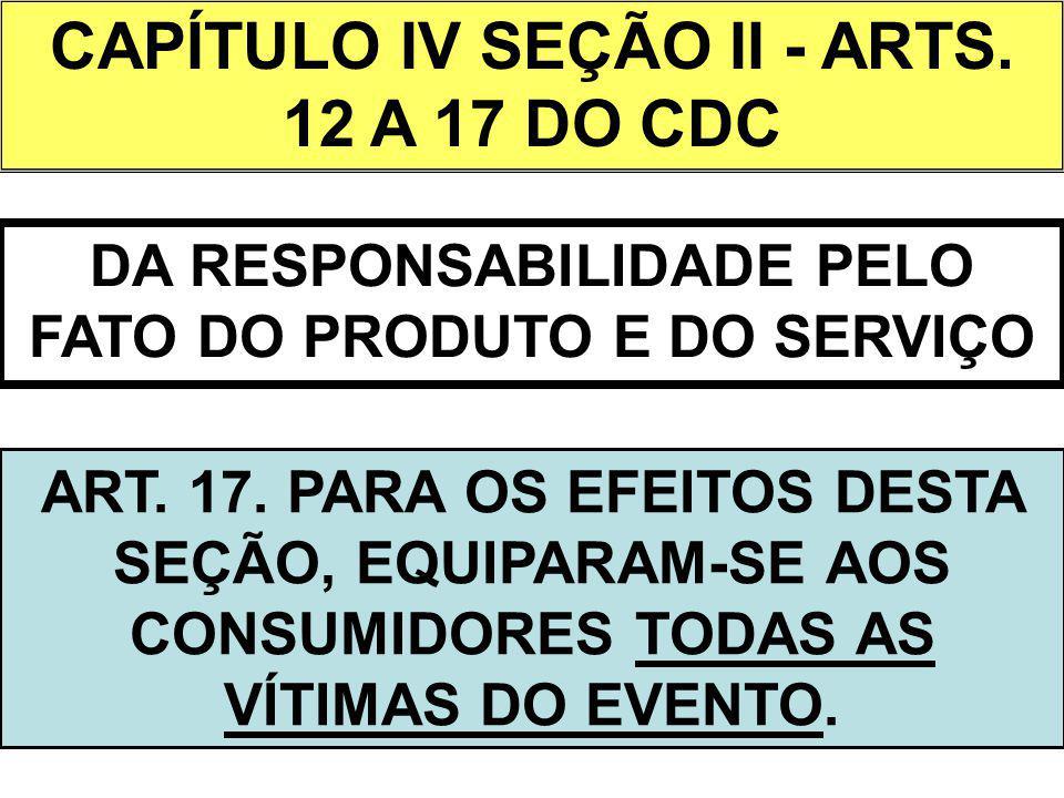 CAPÍTULO IV SEÇÃO II - ARTS. 12 A 17 DO CDC DA RESPONSABILIDADE PELO FATO DO PRODUTO E DO SERVIÇO ART. 17. PARA OS EFEITOS DESTA SEÇÃO, EQUIPARAM-SE A