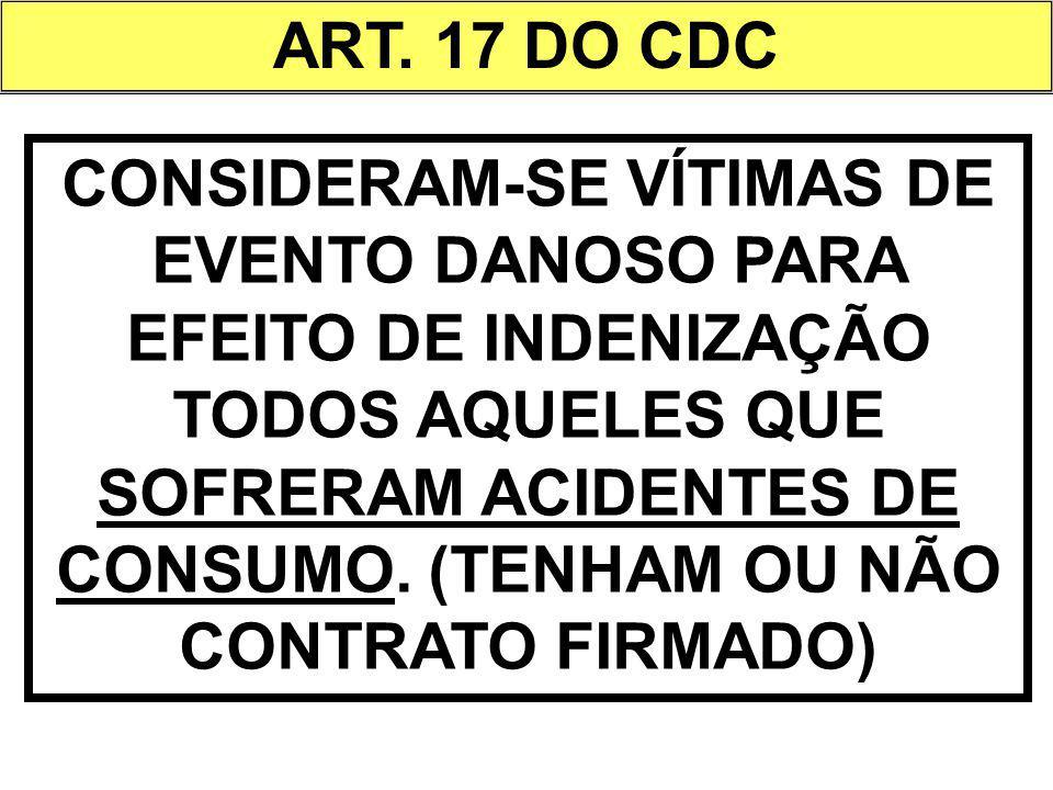 ART. 17 DO CDC CONSIDERAM-SE VÍTIMAS DE EVENTO DANOSO PARA EFEITO DE INDENIZAÇÃO TODOS AQUELES QUE SOFRERAM ACIDENTES DE CONSUMO. (TENHAM OU NÃO CONTR