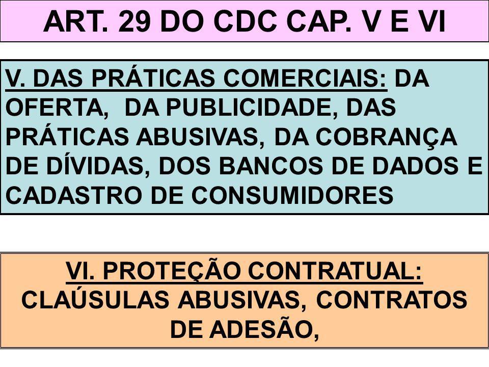 ART. 29 DO CDC CAP. V E VI V. DAS PRÁTICAS COMERCIAIS: DA OFERTA, DA PUBLICIDADE, DAS PRÁTICAS ABUSIVAS, DA COBRANÇA DE DÍVIDAS, DOS BANCOS DE DADOS E