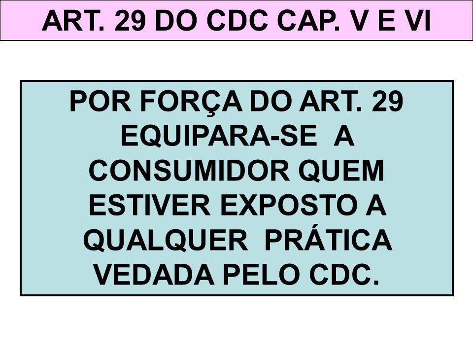 ART. 29 DO CDC CAP. V E VI POR FORÇA DO ART. 29 EQUIPARA-SE A CONSUMIDOR QUEM ESTIVER EXPOSTO A QUALQUER PRÁTICA VEDADA PELO CDC.