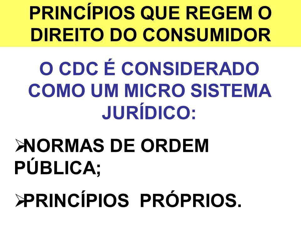 PRINCÍPIOS QUE REGEM O DIREITO DO CONSUMIDOR O CDC É CONSIDERADO COMO UM MICRO SISTEMA JURÍDICO: NORMAS DE ORDEM PÚBLICA; PRINCÍPIOS PRÓPRIOS.