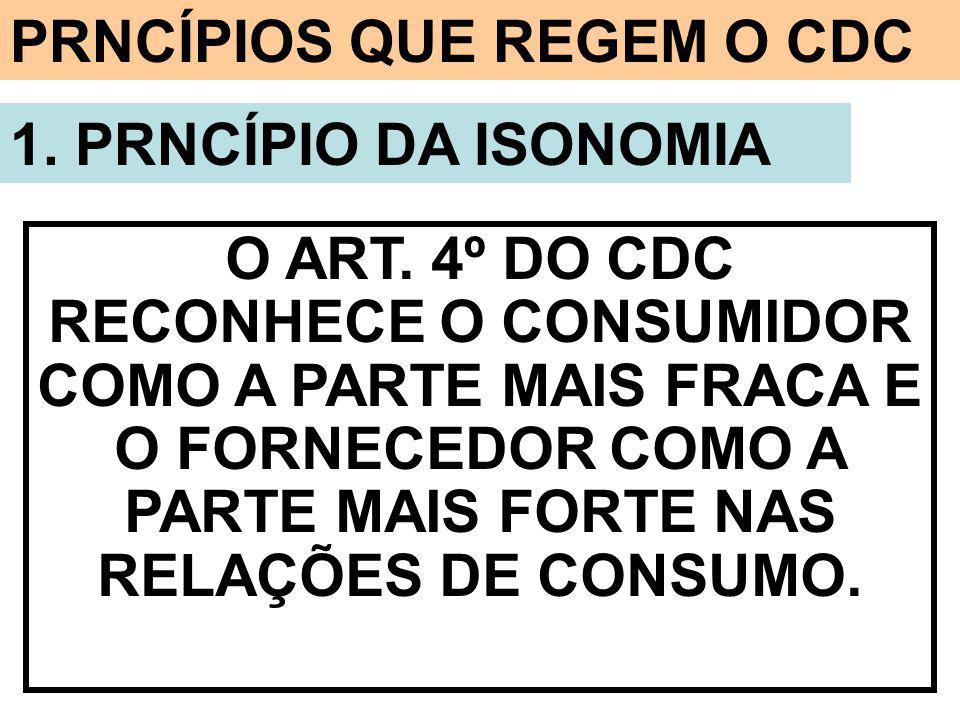 PRNCÍPIOS QUE REGEM O CDC 1. PRNCÍPIO DA ISONOMIA O ART. 4º DO CDC RECONHECE O CONSUMIDOR COMO A PARTE MAIS FRACA E O FORNECEDOR COMO A PARTE MAIS FOR