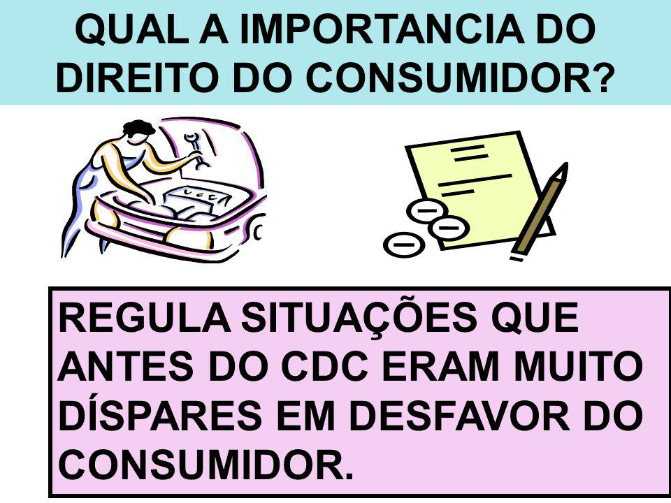 QUAL A IMPORTANCIA DO DIREITO DO CONSUMIDOR? REGULA SITUAÇÕES QUE ANTES DO CDC ERAM MUITO DÍSPARES EM DESFAVOR DO CONSUMIDOR.