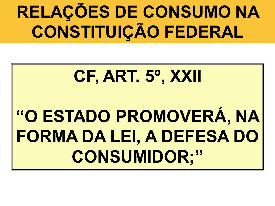 RELAÇÕES DE CONSUMO NA CONSTITUIÇÃO FEDERAL CF, ART. 5º, XXII O ESTADO PROMOVERÁ, NA FORMA DA LEI, A DEFESA DO CONSUMIDOR;