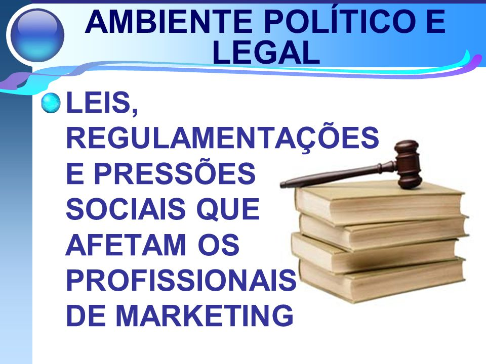 AMBIENTE POLÍTICO E LEGAL LEIS, REGULAMENTAÇÕES E PRESSÕES SOCIAIS QUE AFETAM OS PROFISSIONAIS DE MARKETING