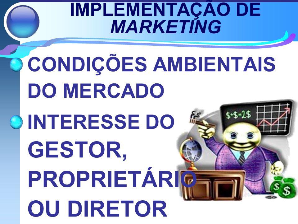 IMPLEMENTAÇÃO DE MARKETING CONDIÇÕES AMBIENTAIS DO MERCADO INTERESSE DO GESTOR, PROPRIETÁRIO OU DIRETOR