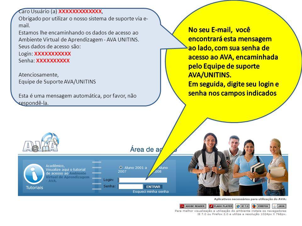 Caro Usuário (a) XXXXXXXXXXXXX, Obrigado por utilizar o nosso sistema de suporte via e- mail. Estamos lhe encaminhando os dados de acesso ao Ambiente
