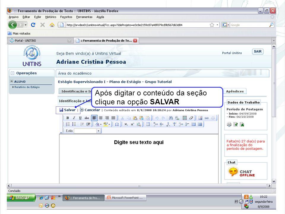 Após digitar o conteúdo da seção clique na opção SALVAR