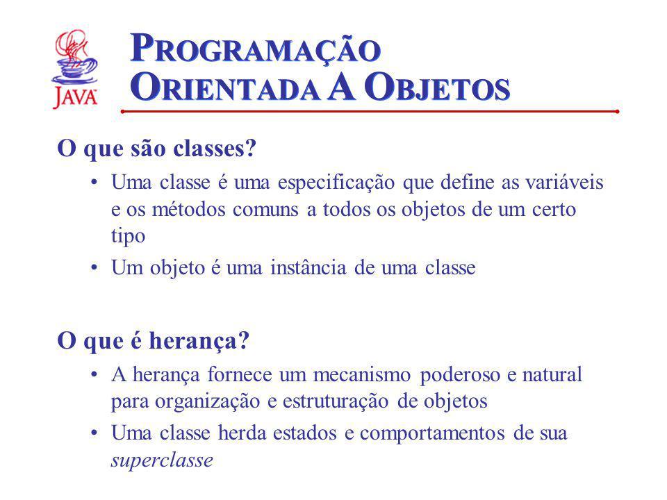 P ROGRAMAÇÃO O RIENTADA A O BJETOS O que são classes? Uma classe é uma especificação que define as variáveis e os métodos comuns a todos os objetos de