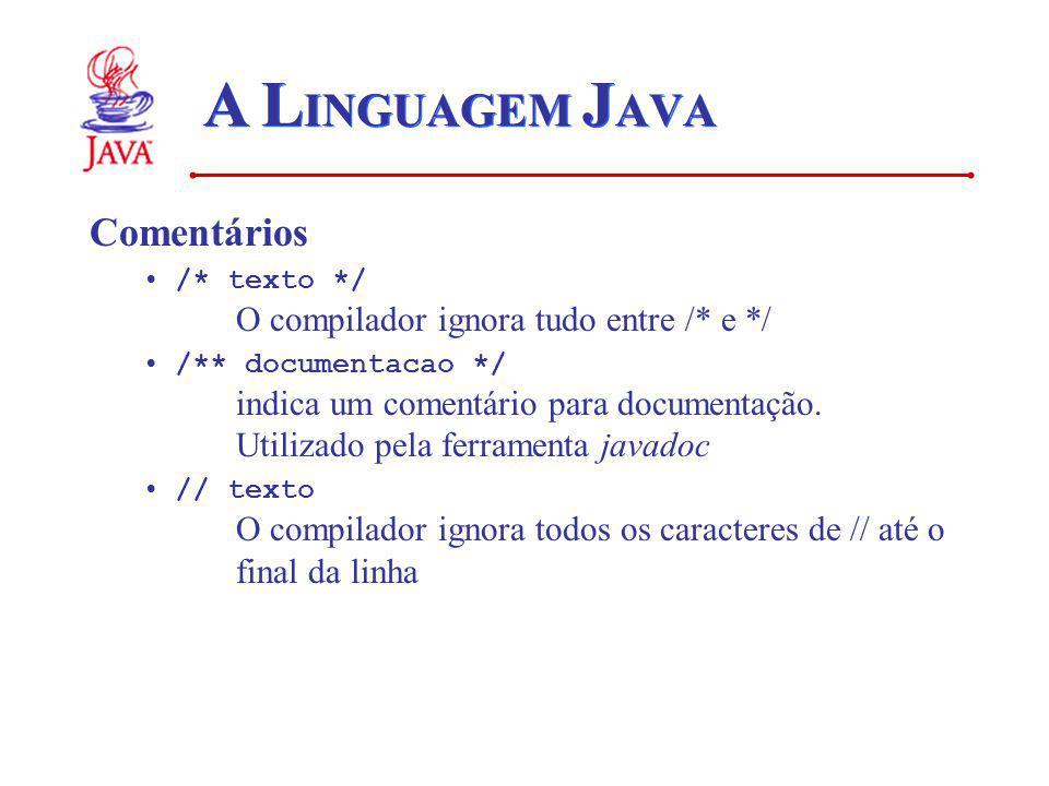 A L INGUAGEM J AVA Comentários /* texto */ O compilador ignora tudo entre /* e */ /** documentacao */ indica um comentário para documentação.