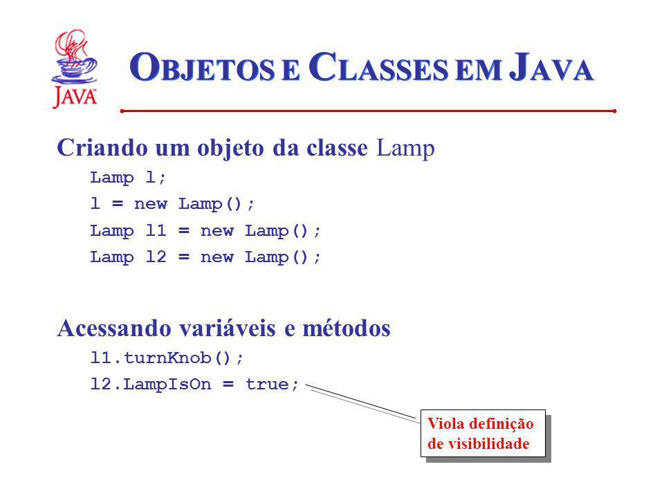 O BJETOS E C LASSES EM J AVA Criando um objeto da classe Lamp Lamp l; l = new Lamp(); Lamp l1 = new Lamp(); Lamp l2 = new Lamp(); Acessando variáveis e métodos l1.turnKnob(); l2.LampIsOn = true; Viola definição de visibilidade