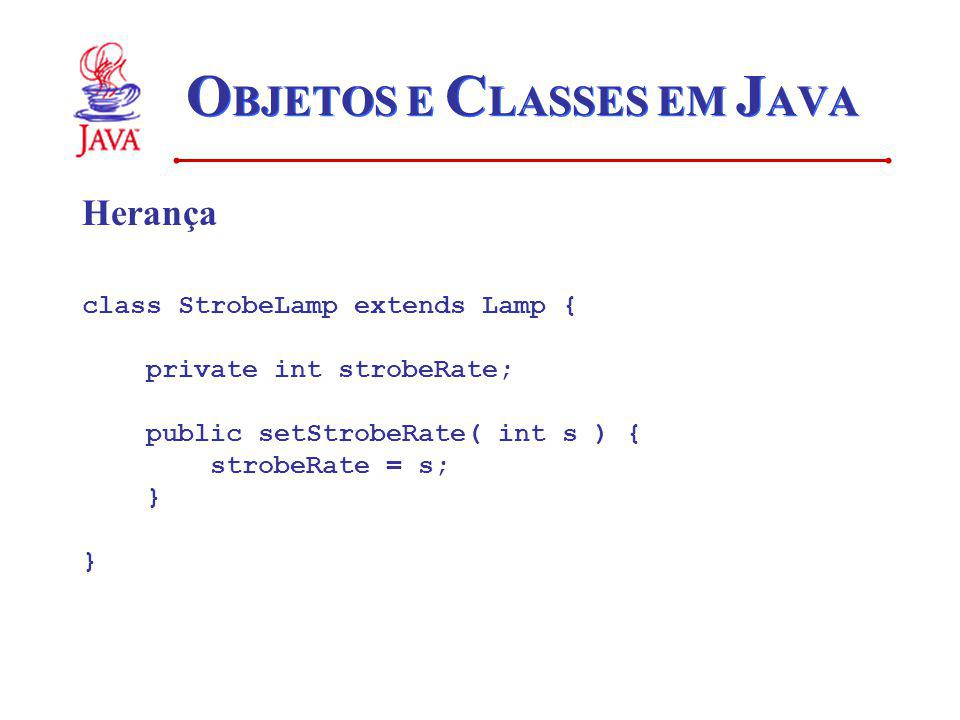 O BJETOS E C LASSES EM J AVA Herança class StrobeLamp extends Lamp { private int strobeRate; public setStrobeRate( int s ) { strobeRate = s; }