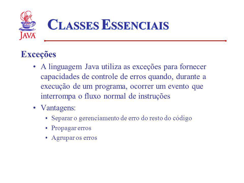 C LASSES E SSENCIAIS Exceções A linguagem Java utiliza as exceções para fornecer capacidades de controle de erros quando, durante a execução de um pro