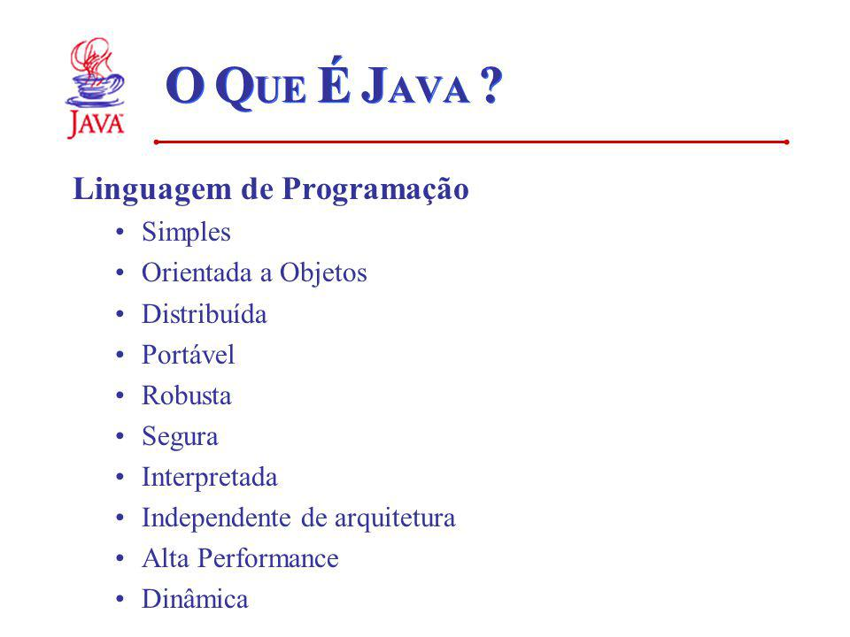 O Q UE É J AVA ? Linguagem de Programação Simples Orientada a Objetos Distribuída Portável Robusta Segura Interpretada Independente de arquitetura Alt