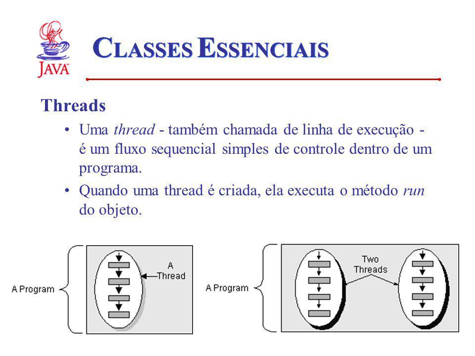 C LASSES E SSENCIAIS Threads Uma thread - também chamada de linha de execução - é um fluxo sequencial simples de controle dentro de um programa. Quand