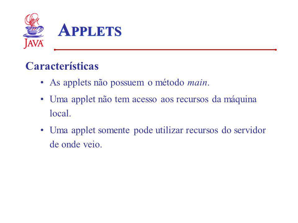 A PPLETS Características As applets não possuem o método main. Uma applet não tem acesso aos recursos da máquina local. Uma applet somente pode utiliz