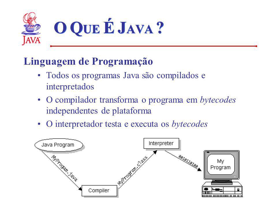 O Q UE É J AVA ? Linguagem de Programação Todos os programas Java são compilados e interpretados O compilador transforma o programa em bytecodes indep