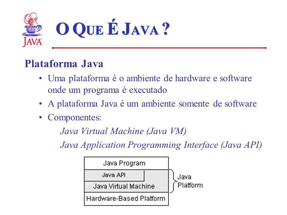 O Q UE É J AVA ? Plataforma Java Uma plataforma é o ambiente de hardware e software onde um programa é executado A plataforma Java é um ambiente somen