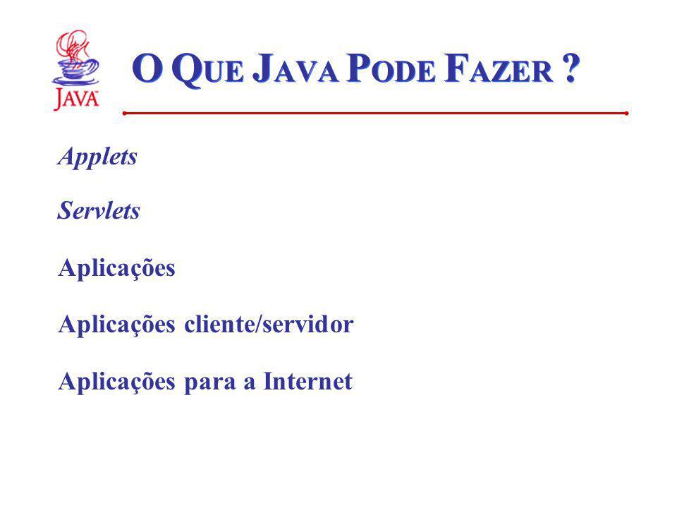 O Q UE J AVA P ODE F AZER ? Applets Servlets Aplicações Aplicações cliente/servidor Aplicações para a Internet