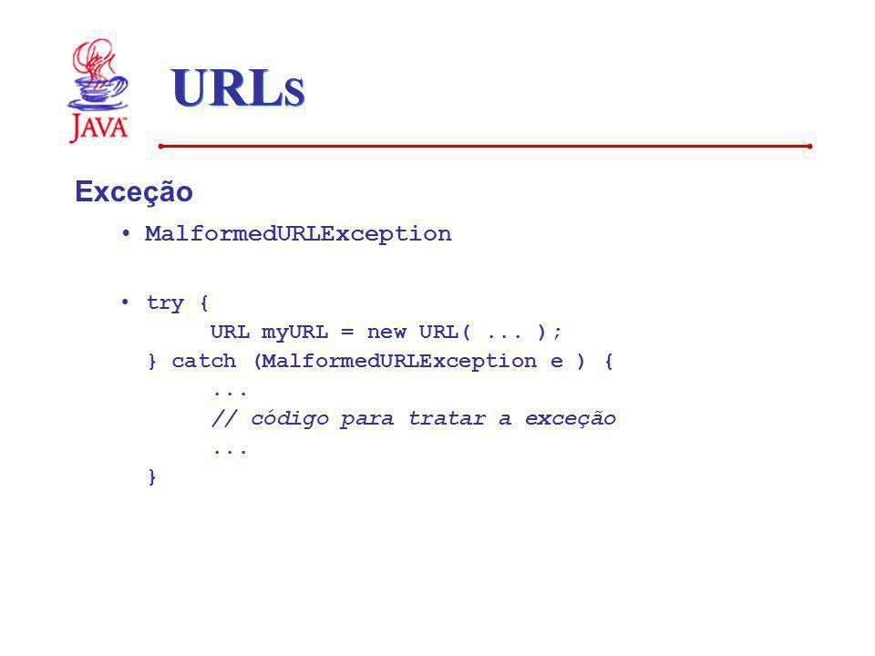 URL S Exceção MalformedURLException try { URL myURL = new URL(... ); } catch (MalformedURLException e ) {... // código para tratar a exceção... }