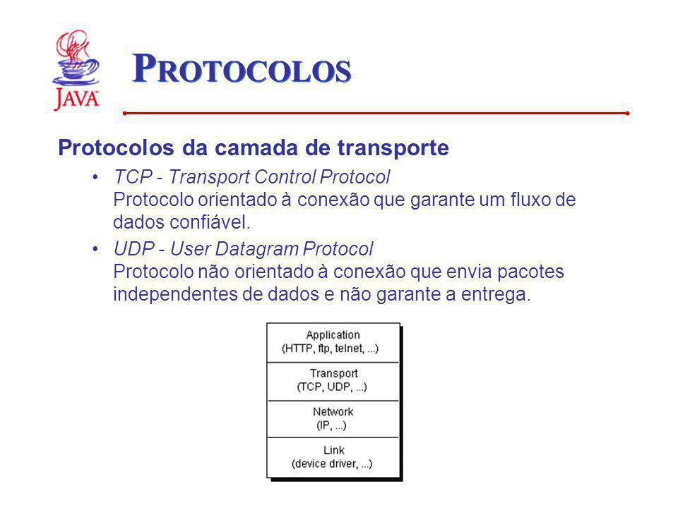 P ROTOCOLOS Protocolos da camada de transporte TCP - Transport Control Protocol Protocolo orientado à conexão que garante um fluxo de dados confiável.
