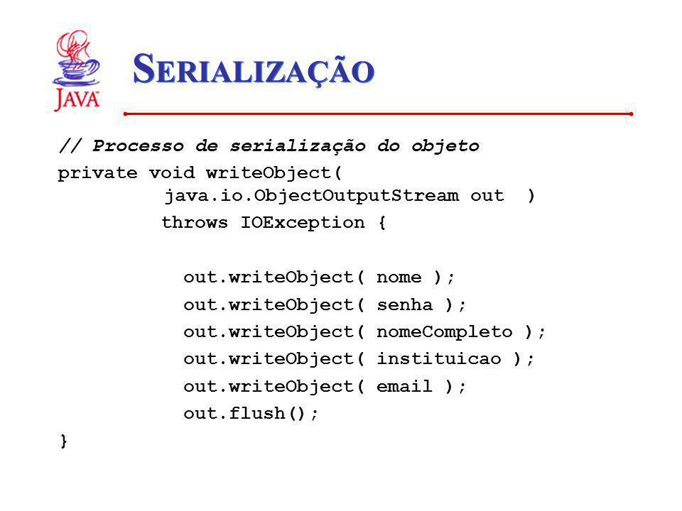 S ERIALIZAÇÃO // Processo de serialização do objeto private void writeObject( java.io.ObjectOutputStream out ) throws IOException { out.writeObject( n