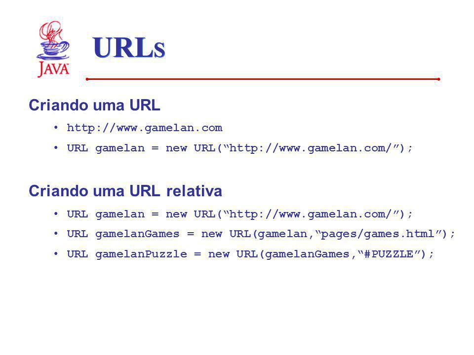 URL S Criando uma URL http://www.gamelan.com URL gamelan = new URL(http://www.gamelan.com/); Criando uma URL relativa URL gamelan = new URL(http://www