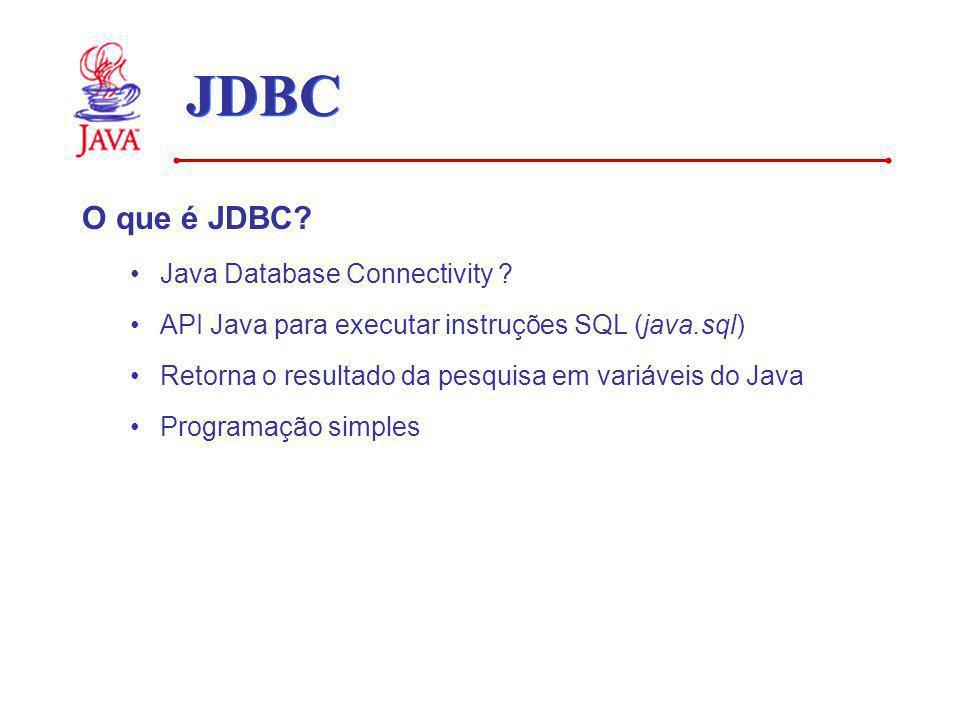 O que é JDBC? Java Database Connectivity ? API Java para executar instruções SQL (java.sql) Retorna o resultado da pesquisa em variáveis do Java Progr