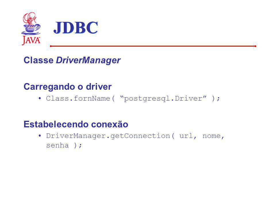 JDBC Classe DriverManager Carregando o driver Class.fornName( postgresql.Driver ); Estabelecendo conexão DriverManager.getConnection( url, nome, senha