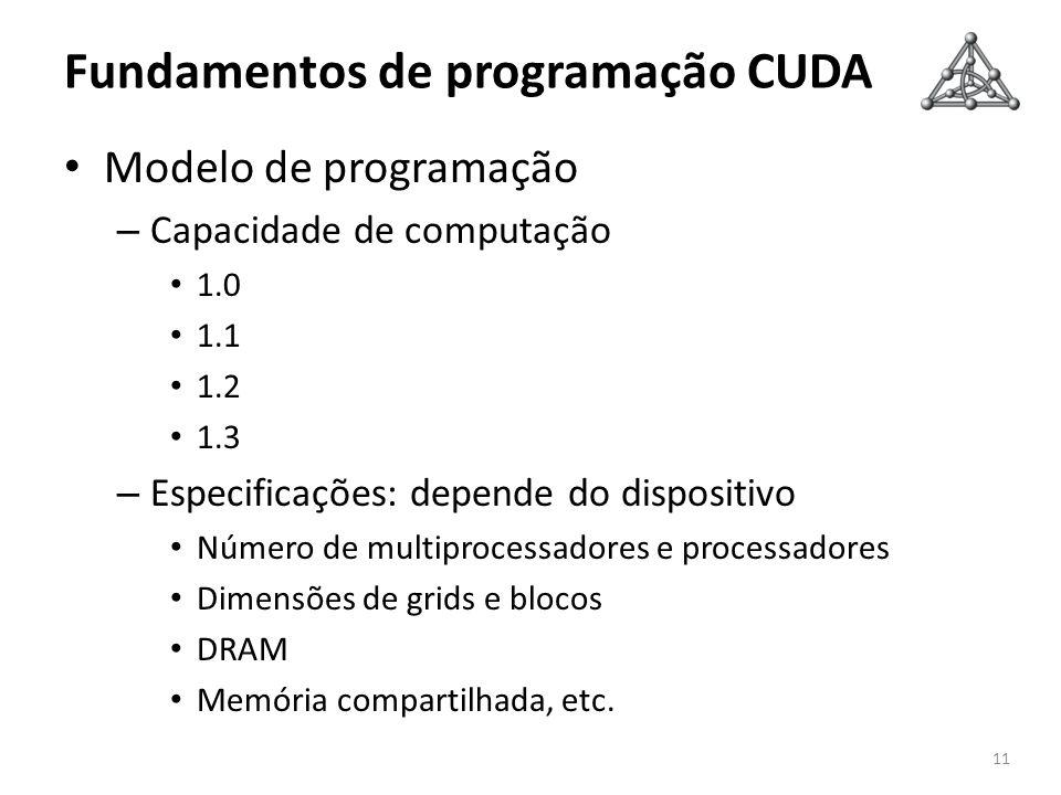 Fundamentos de programação CUDA Modelo de programação – Capacidade de computação 1.0 1.1 1.2 1.3 – Especificações: depende do dispositivo Número de mu