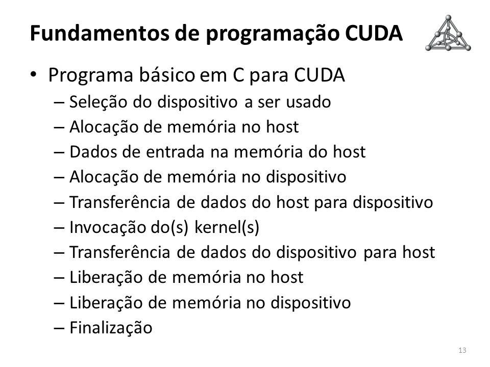 Fundamentos de programação CUDA Programa básico em C para CUDA – Seleção do dispositivo a ser usado – Alocação de memória no host – Dados de entrada n