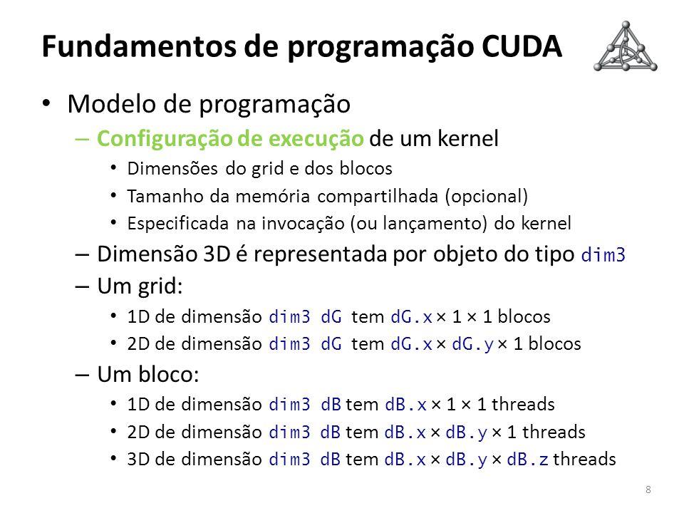 Fundamentos de programação CUDA Modelo de programação – Configuração de execução de um kernel Dimensões do grid e dos blocos Tamanho da memória compar
