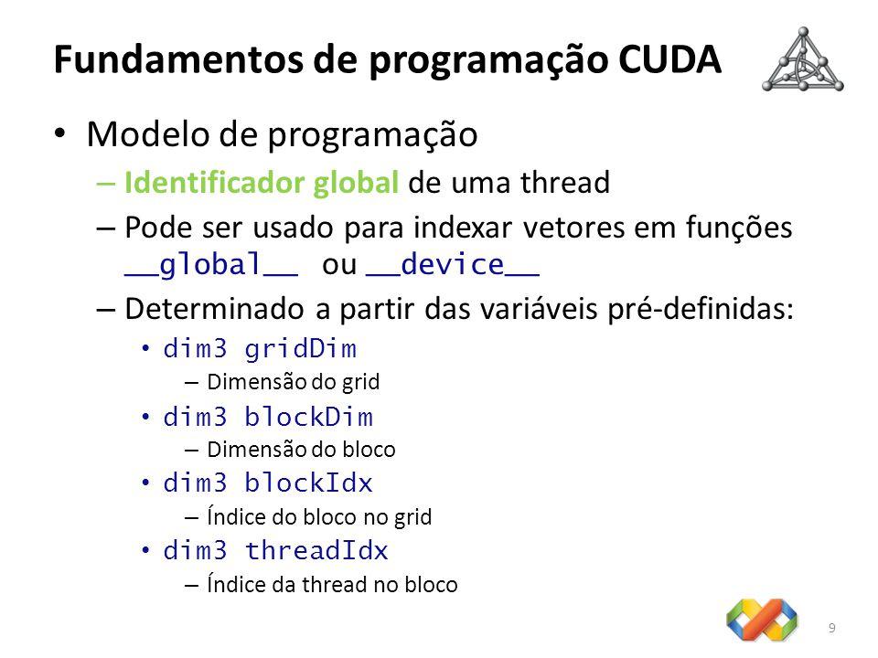 Fundamentos de programação CUDA Modelo de programação – Identificador global de uma thread – Pode ser usado para indexar vetores em funções __global__