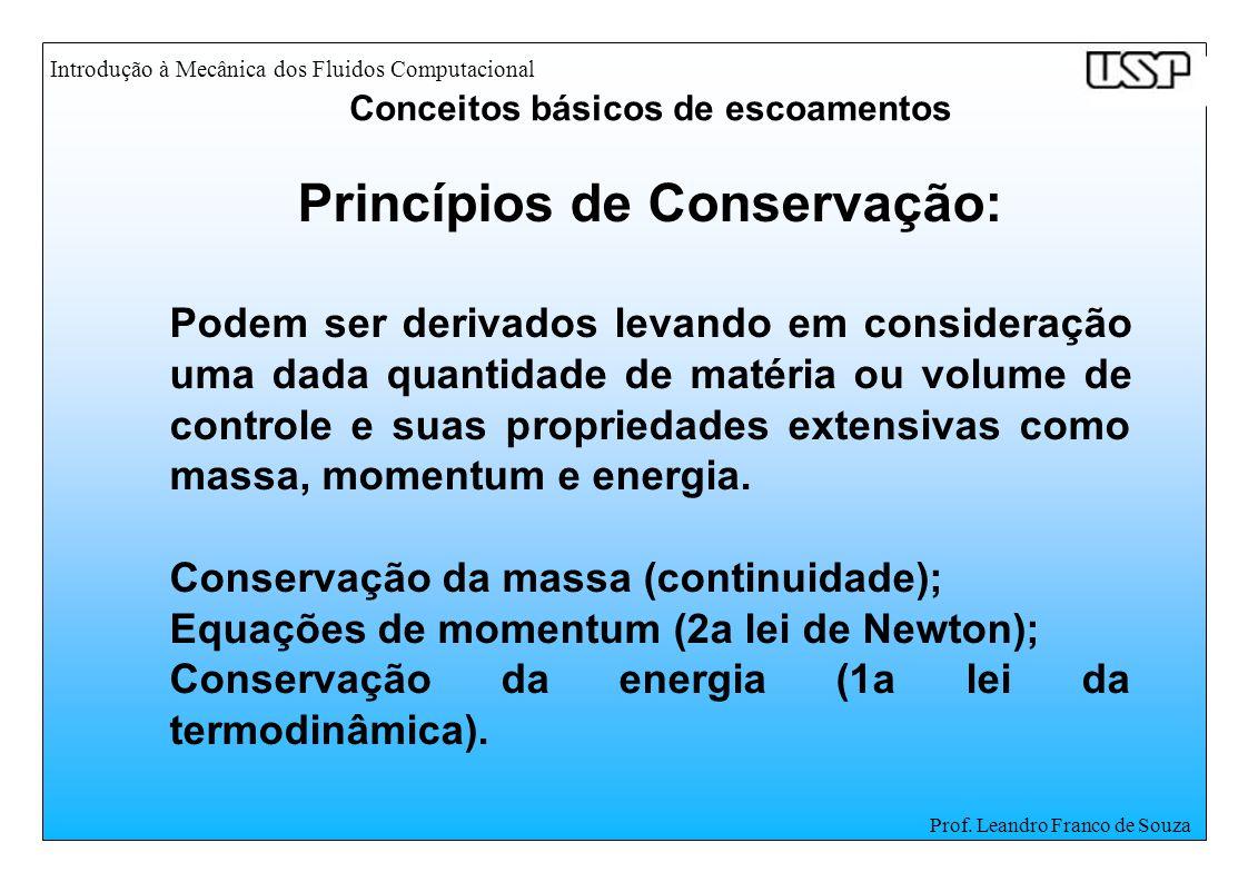 Introdução à Mecânica dos Fluidos Computacional Prof. Leandro Franco de Souza Princípios de Conservação: Podem ser derivados levando em consideração u