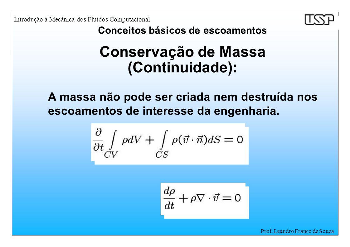 Introdução à Mecânica dos Fluidos Computacional Prof. Leandro Franco de Souza Conservação de Massa (Continuidade): A massa não pode ser criada nem des