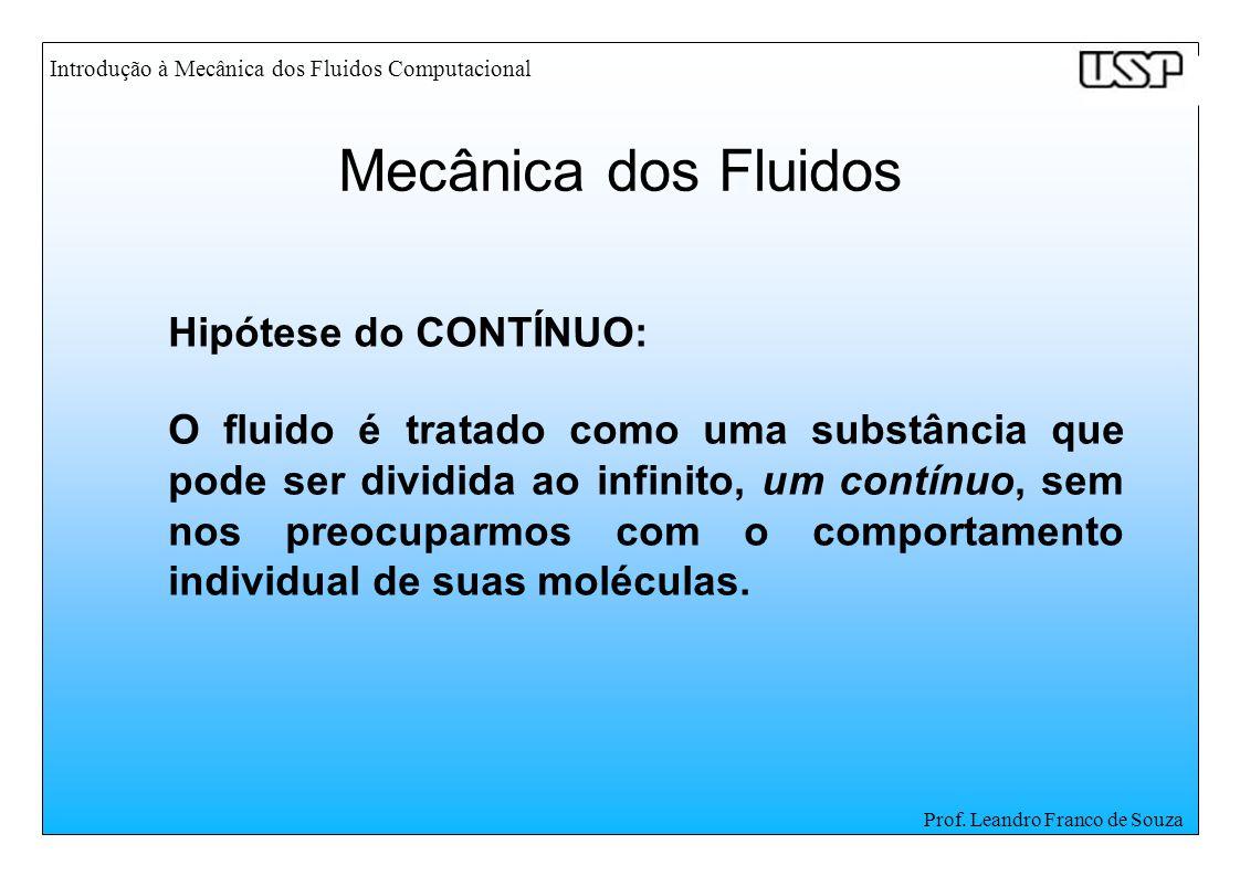 Introdução à Mecânica dos Fluidos Computacional Prof. Leandro Franco de Souza Hipótese do CONTÍNUO: O fluido é tratado como uma substância que pode se