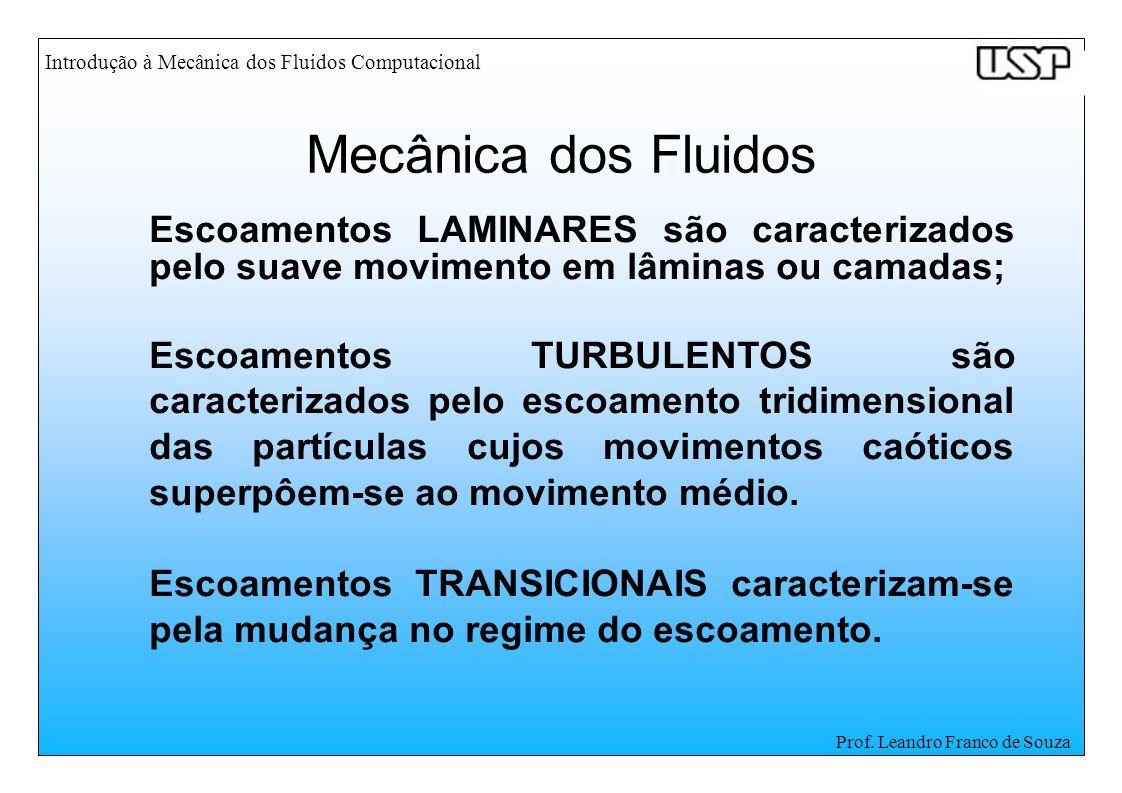 Introdução à Mecânica dos Fluidos Computacional Prof. Leandro Franco de Souza Escoamentos LAMINARES são caracterizados pelo suave movimento em lâminas