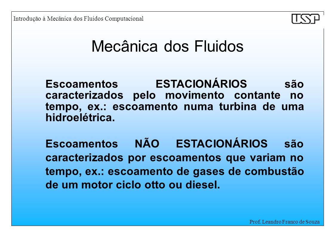 Introdução à Mecânica dos Fluidos Computacional Prof. Leandro Franco de Souza Escoamentos ESTACIONÁRIOS são caracterizados pelo movimento contante no