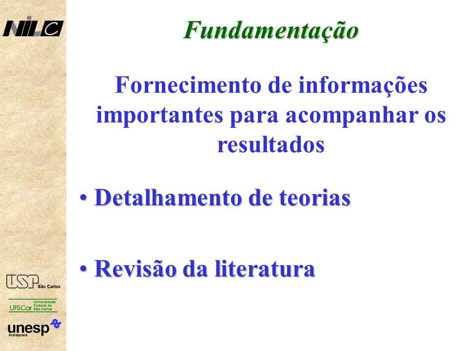 Fundamentação Fornecimento de informações importantes para acompanhar os resultados Detalhamento de teorias Detalhamento de teorias Revisão da literatura Revisão da literatura
