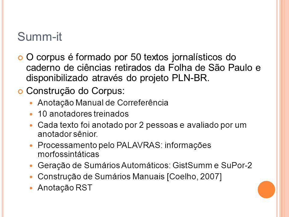 Summ-it O corpus é formado por 50 textos jornalísticos do caderno de ciências retirados da Folha de São Paulo e disponibilizado através do projeto PLN
