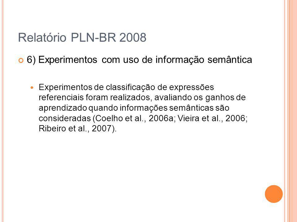 Relatório PLN-BR 2008 6) Experimentos com uso de informação semântica Experimentos de classificação de expressões referenciais foram realizados, avali