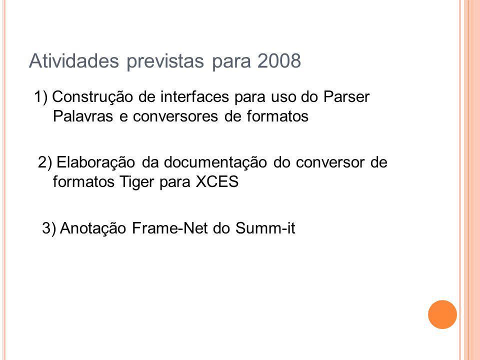 Atividades previstas para 2008 1) Construção de interfaces para uso do Parser Palavras e conversores de formatos 2) Elaboração da documentação do conv