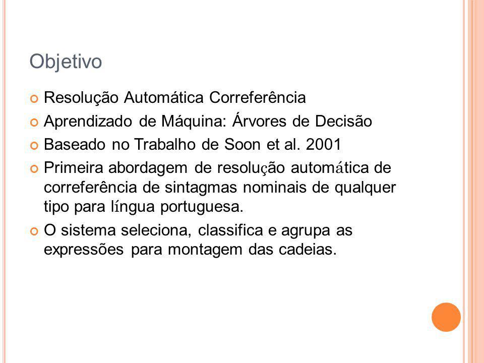 Objetivo Resolução Automática Correferência Aprendizado de Máquina: Árvores de Decisão Baseado no Trabalho de Soon et al. 2001 Primeira abordagem de r