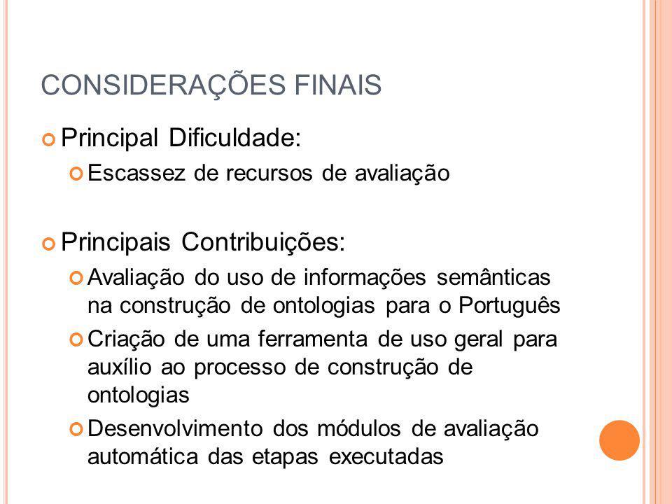 CONSIDERAÇÕES FINAIS Principal Dificuldade: Escassez de recursos de avaliação Principais Contribuições: Avaliação do uso de informações semânticas na