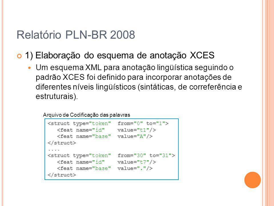Relatório PLN-BR 2008 1) Elaboração do esquema de anotação XCES Um esquema XML para anotação lingüística seguindo o padrão XCES foi definido para inco