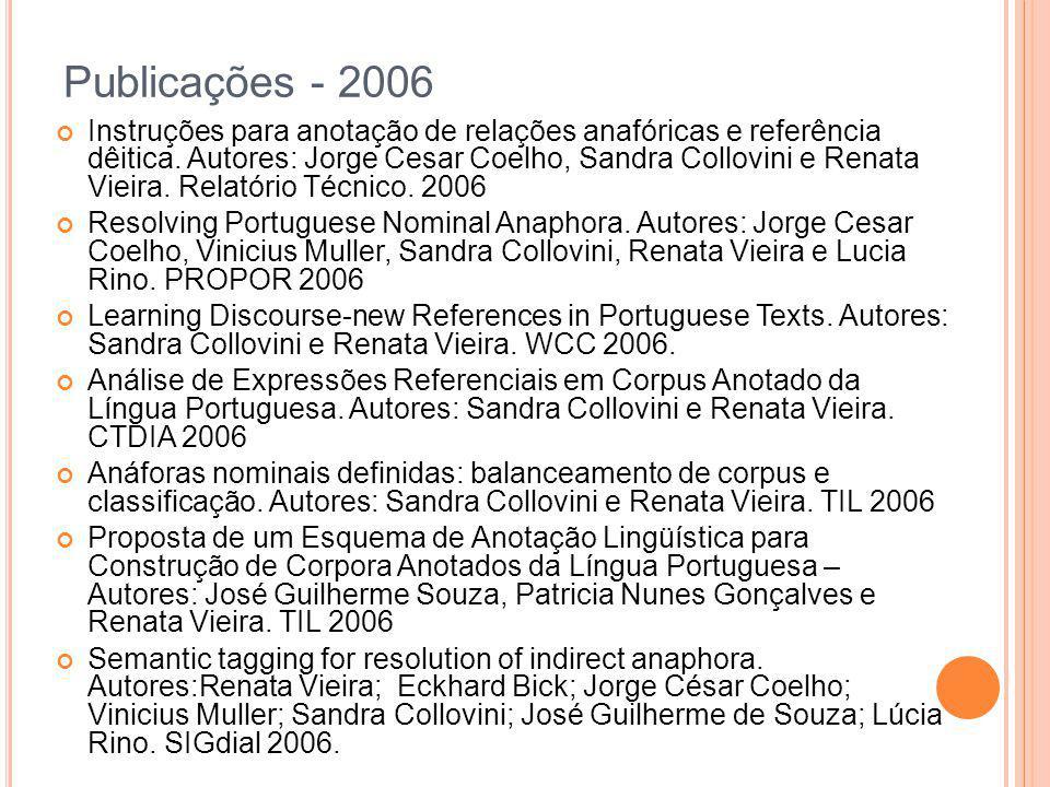 Publicações - 2006 Instruções para anotação de relações anafóricas e referência dêitica. Autores: Jorge Cesar Coelho, Sandra Collovini e Renata Vieira