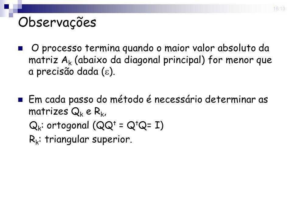 25 Nov 2008. 16:13 Observações O processo termina quando o maior valor absoluto da matriz A k (abaixo da diagonal principal) for menor que a precisão
