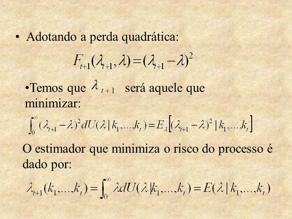 Adotando a perda quadrática: Temos que será aquele que minimizar: O estimador que minimiza o risco do processo é dado por: