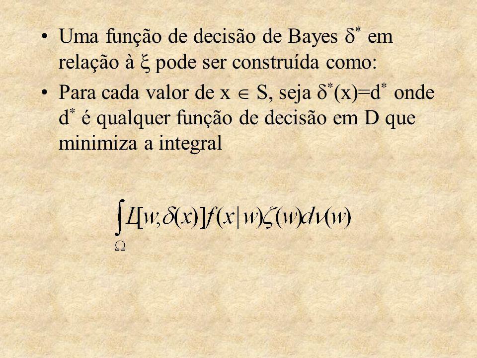 Uma função de decisão de Bayes * em relação à pode ser construída como: Para cada valor de x S, seja * (x)=d * onde d * é qualquer função de decisão em D que minimiza a integral